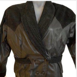 Vintage Chia Black Cropped Leather & Suede Jacket